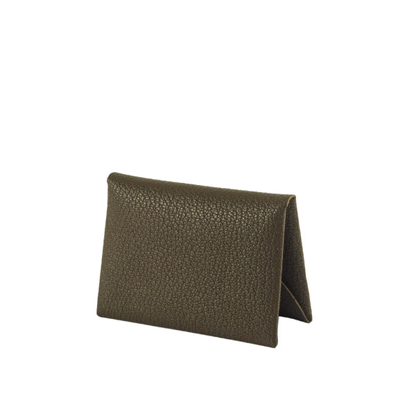 Shop online olive cardholder made of goatskin leather from South of France, with single-piece construction. Designed in Singapore & made in Spain. International shipping.