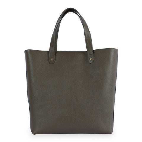 Penta Goatskin Leather Tote & Pouch in Olive. Shop online tote and pouch, made of goatskin leather from South of France, fully lined with goat suede. Designed in Singapore, made in Spain. International shipping.