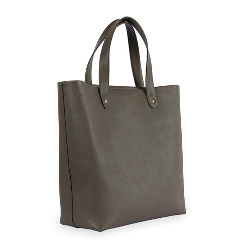 Penta Goatskin Leather Tote in Olive. Shop online olive tote, made of natural grain goatskin leather from South of France, fully lined with goat suede. Designed in Singapore, made in Spain. International shipping.