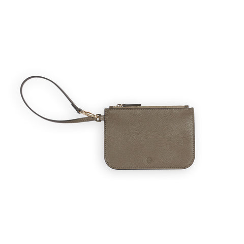 Penta Goatskin Leather Pouch in Olive. Shop online olive pouch with wristlet strap, made of goatskin leather from South of France. Designed in Singapore, made in Spain. Monogram your initials to make it uniquely yours!