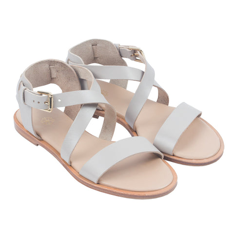 Caballo Sandals in Fossil. Shop online grey sandals with vegetable-tanned cow leather straps, calf leather insole and cow leather outsoles. Designed in Singapore and made in Spain. International shipping.