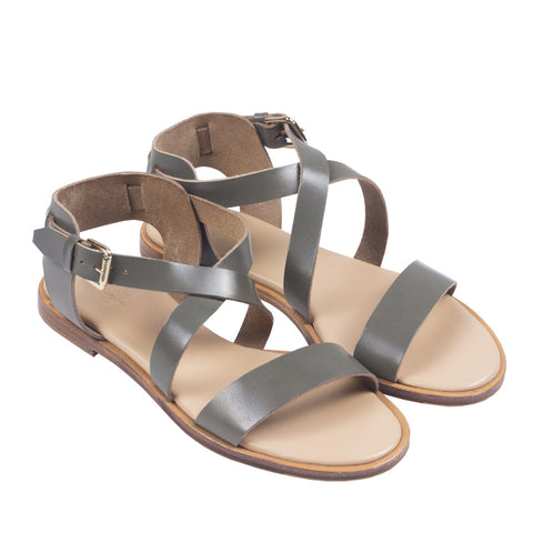 Caballo Sandals in Thyme. Shop online grey green sandals with vegetable-tanned cow leather straps, calf leather insole and cow leather outsoles. Designed in Singapore and made in Spain. International shipping.