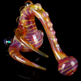 amber purple glass sherlock pipe with horns and opal
