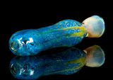 aqua blue glass chillum pipe