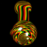 Black Rasta Wig Wag Glass Smoking Pipe
