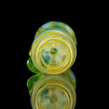 Silver fumed color changing chillum glass smoking pipe with green stardust marbles by VisceralAntagonisM