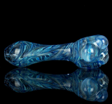 purple boro spoon pipe for smoking with blue wrap and rake swirl pattern by VisceralAntagonisM