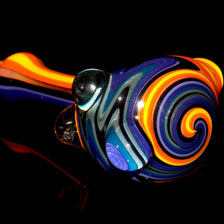 Purple Fire Wig Wag Glass Smoking Pipe