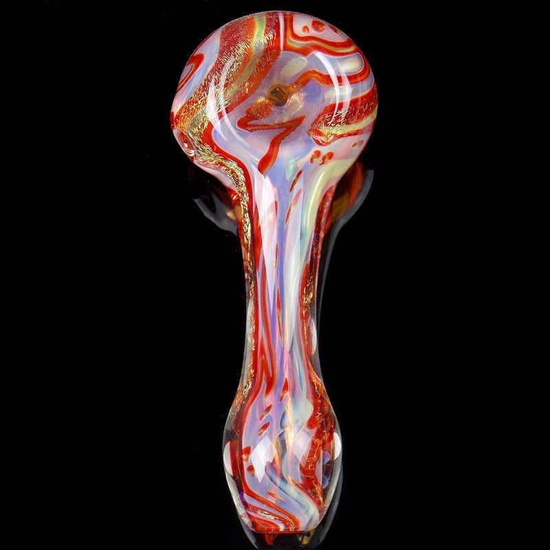 Red and gold dichroic glass spoon Bowl