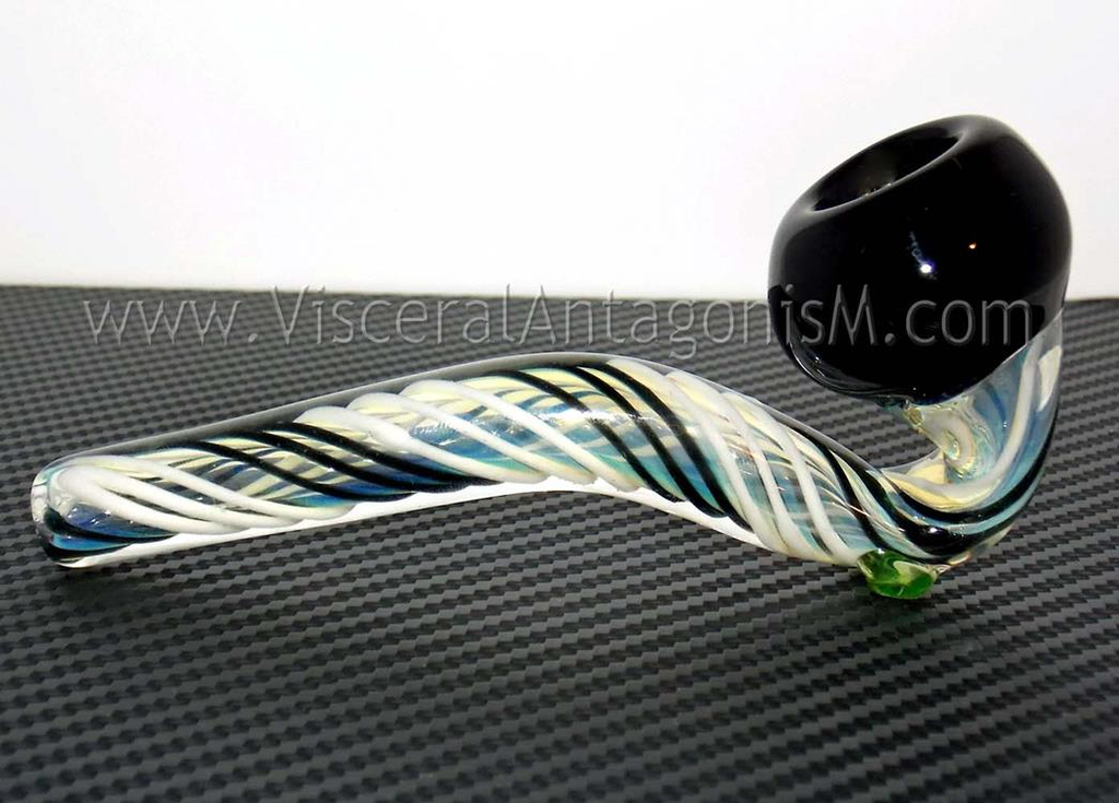 black and white glass pipe