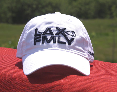 Lax Fmly adjustable hat - white/navy embroidery