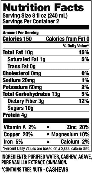 Cashew Milk Nutrition Facts