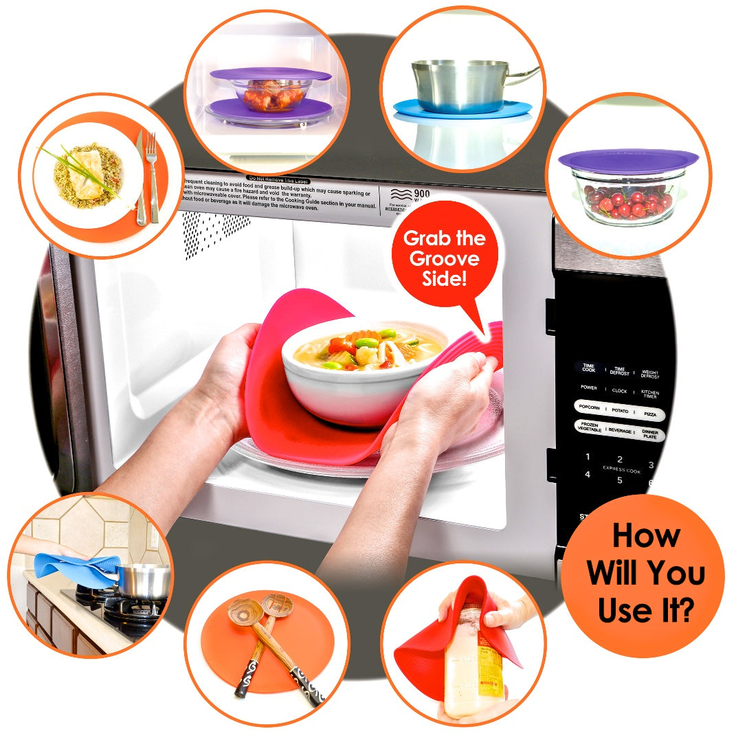 safe grabs multi functional graphic showing use icons jar opener, trivet, food cover, microwave mat, hot pot holder, splatter pan cover