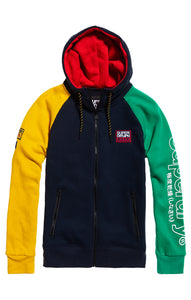 CRAFTED COLOUR BLOCK ZIP HOOD