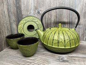 Moss Green Cast Iron Tea Set