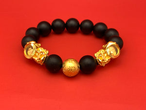 3D Gold Twin Pixiu with Ball Bracelet