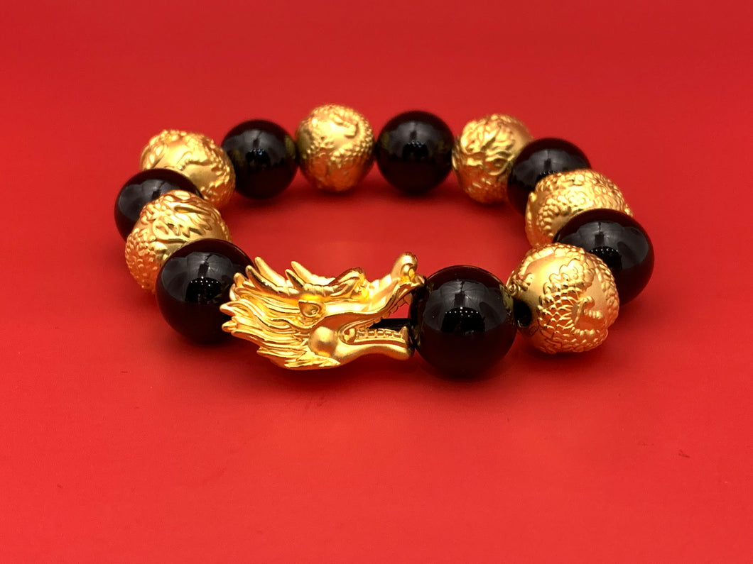 3D Gold Dragon Head with 6 Dragon Ball Bracelet
