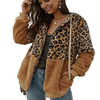 Leopard Patch Sherpa Zip Up Jacket