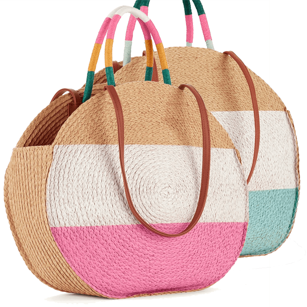 Stripe Straw Circle Tote Bag