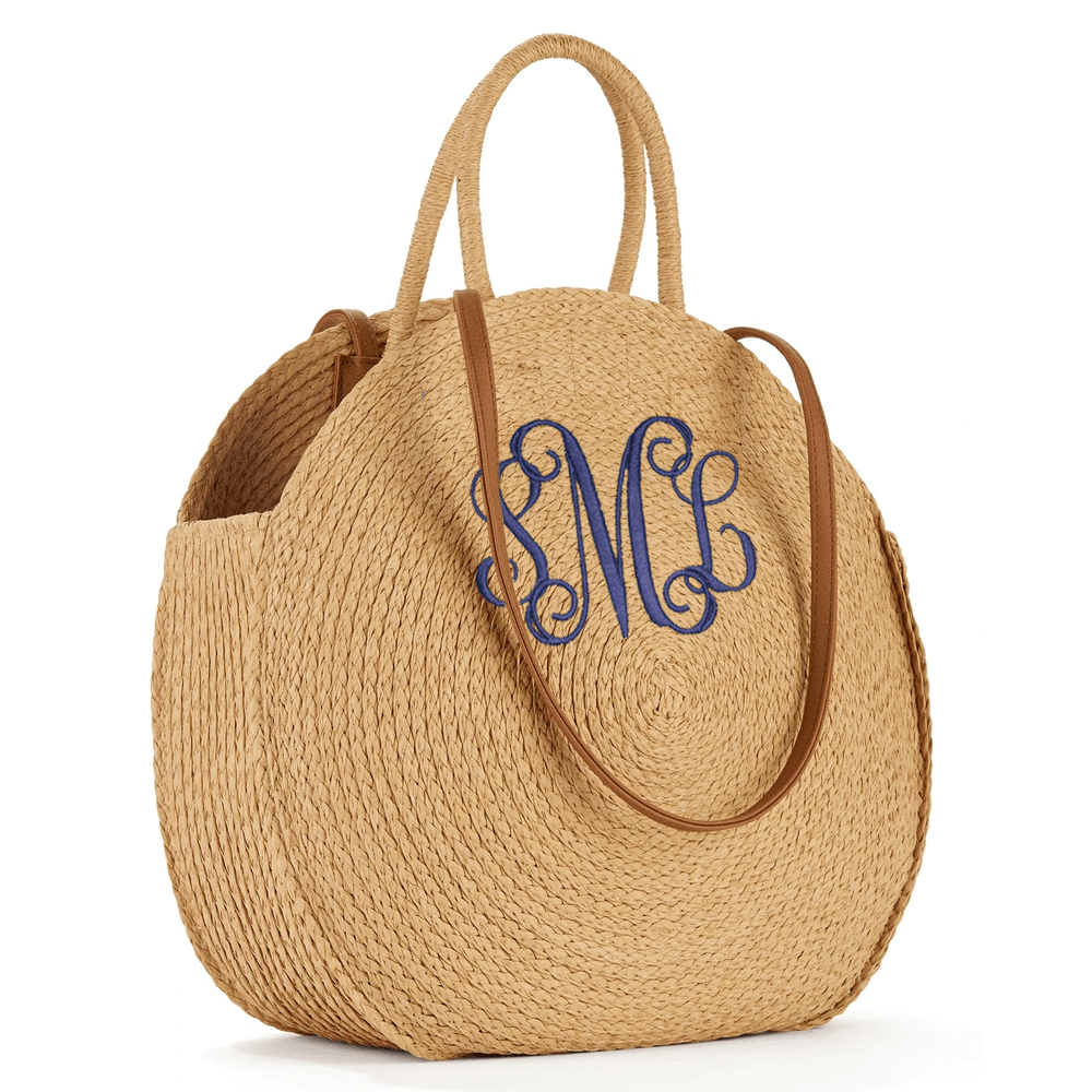 Tan Straw Circle Tote
