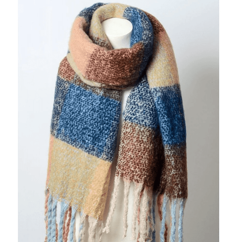 Oversize Color Block Tassel Trim Scarf