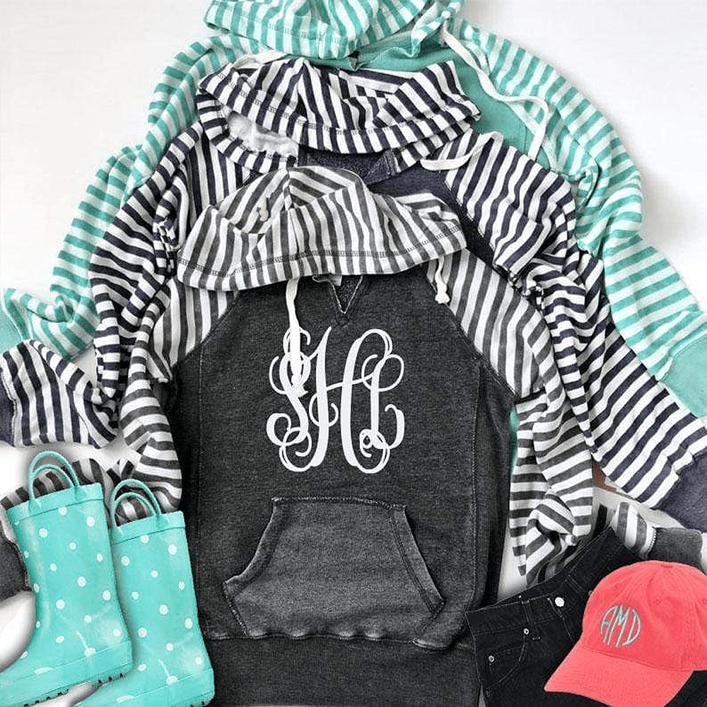 Stripe Fleece Hooded Sweatshirt