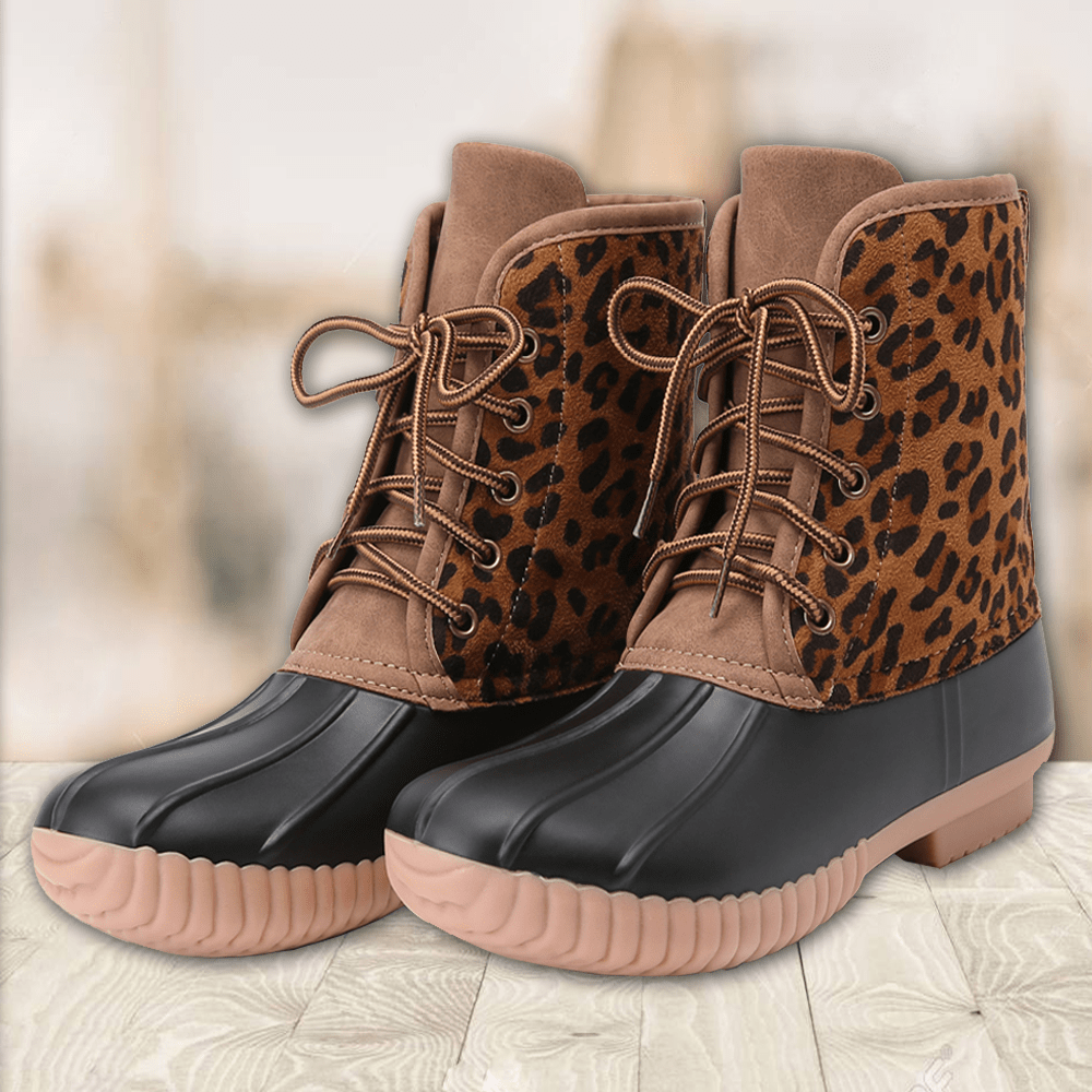 Leopard Ankle Duck Boots