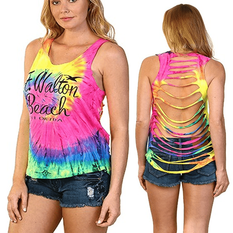Tie Dye Back Fringe Tank Top