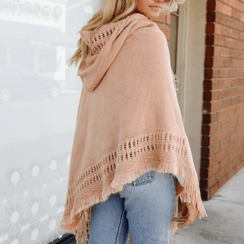 Hooded Fringe Poncho