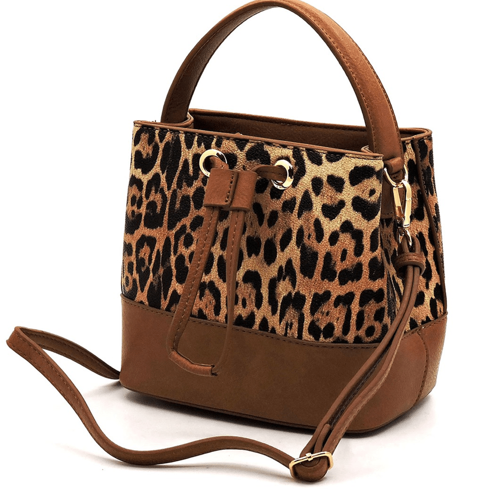 Leopard Drawstring Bucket Crossbody