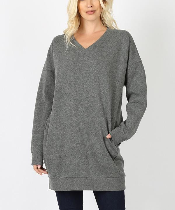 Long V-Neck Sweatshirt