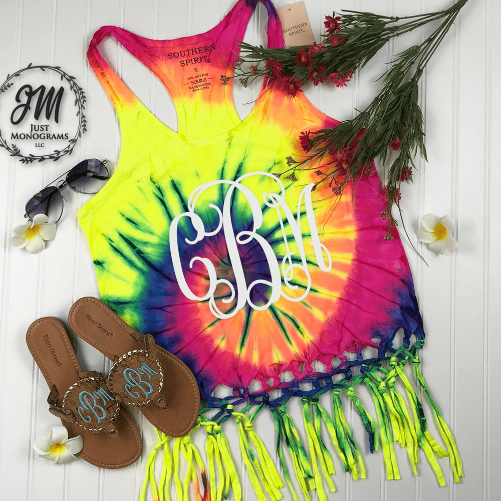 Tie Dye Braided Fringe Tank Top
