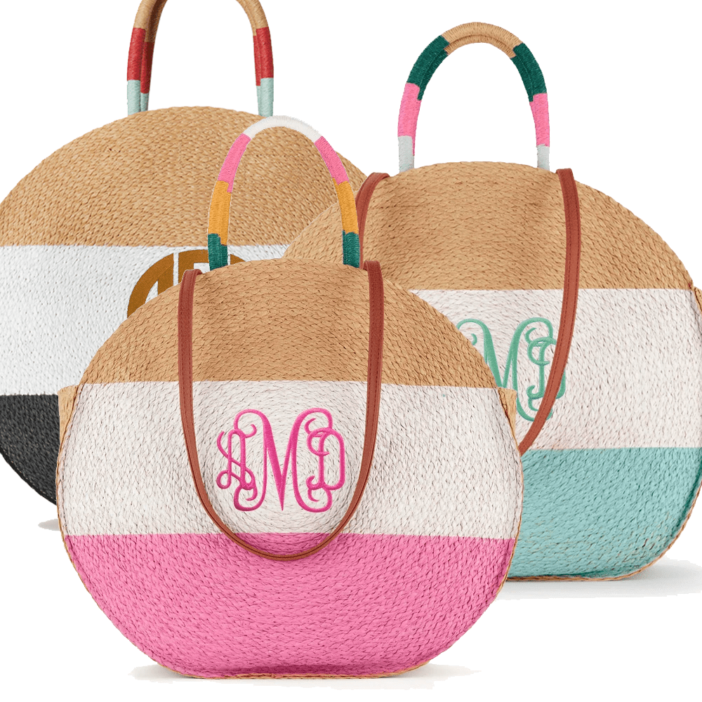 Stripe Straw Circle Totes
