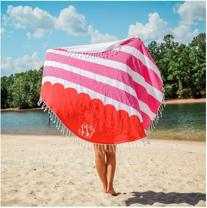 Monogram Round Beach Towel