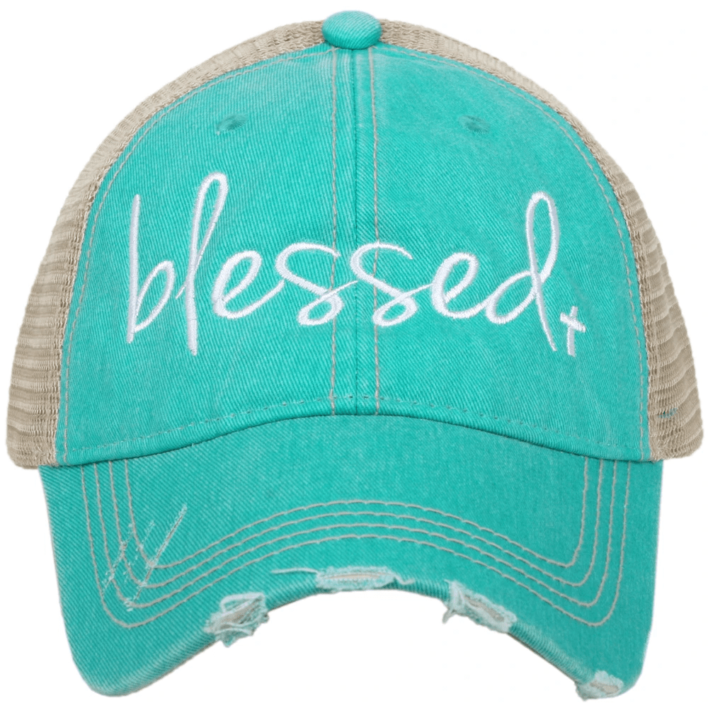 """Blessed"" Distressed Trucker Hat"
