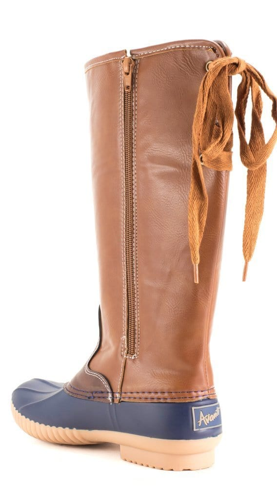 Monogram Lace Up Duck Boots