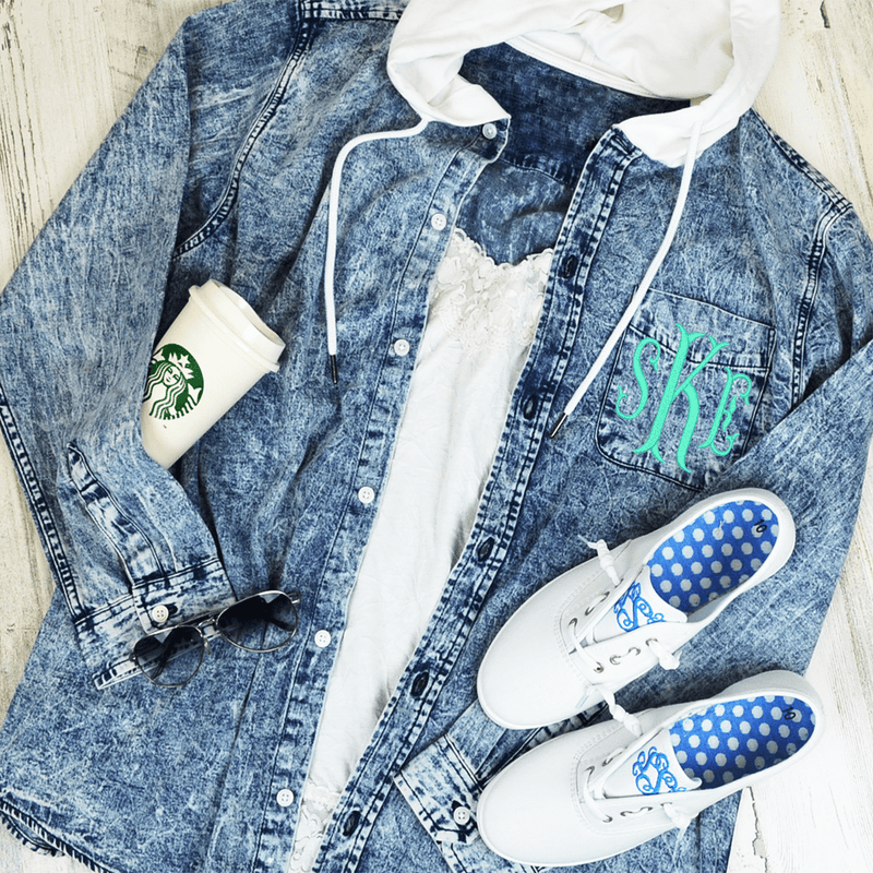 Denim Button Up Hooded Shirt Jacket