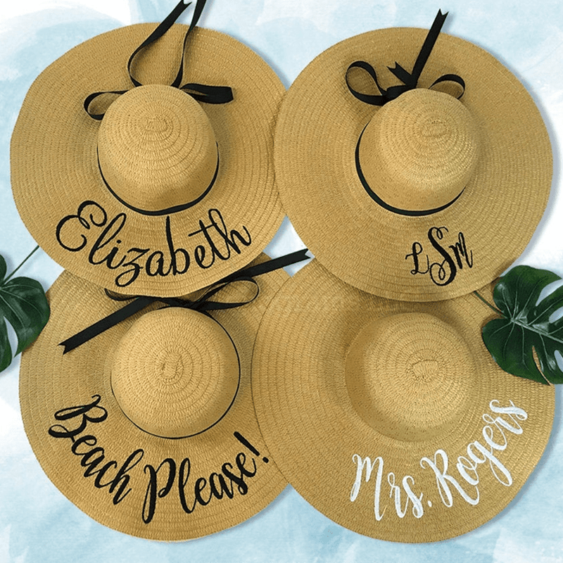 Personalized Floppy Hats With Ribbon