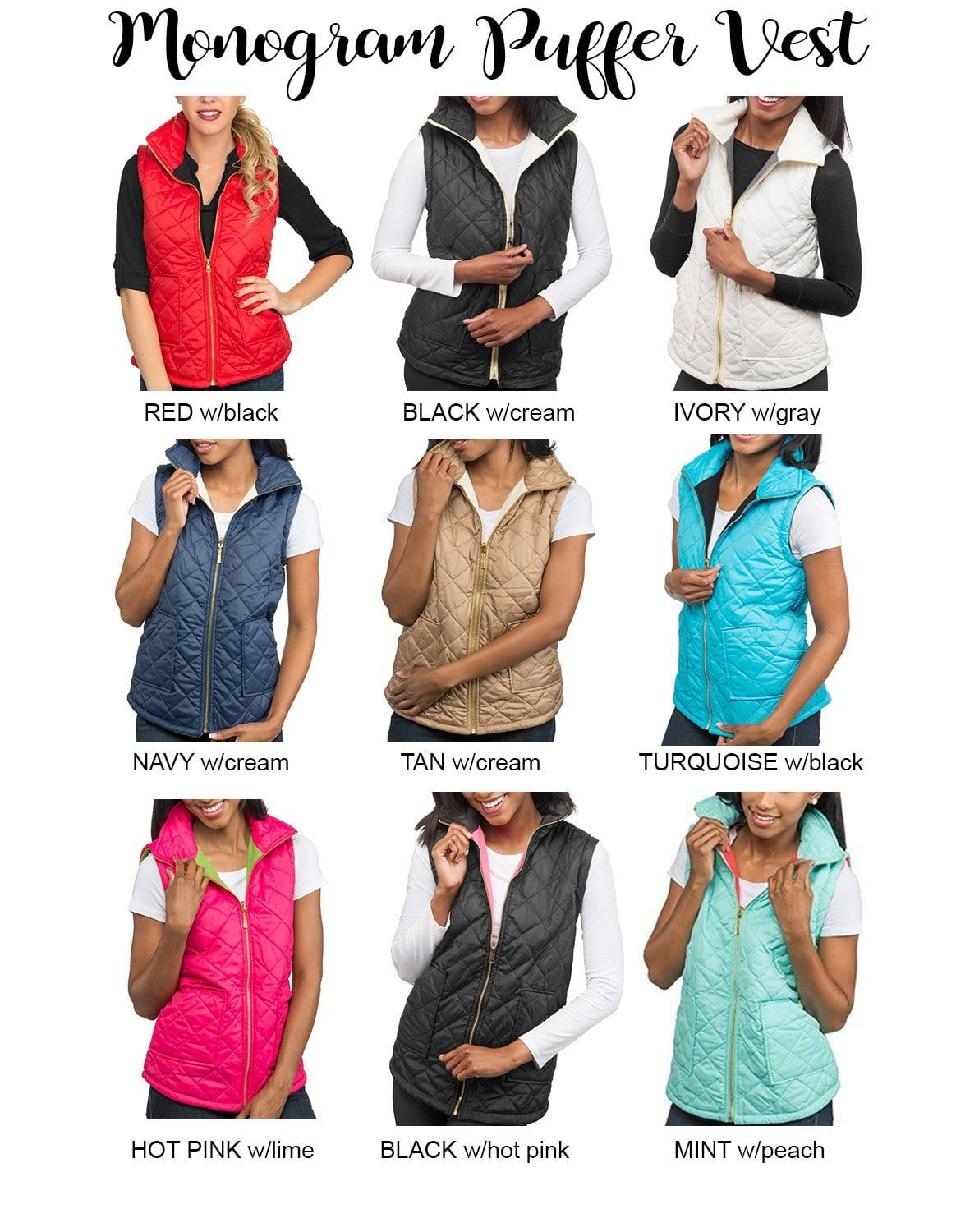 Monogram Puffy Quilted Vests