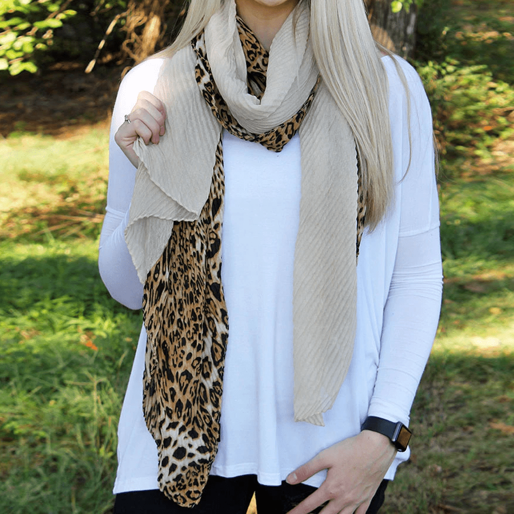 Leopard Colorblock Pleated Scarf