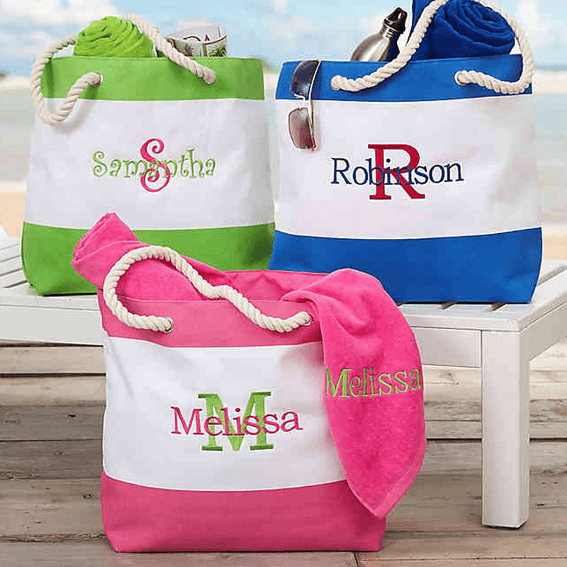 Two Tone Embroidered Beach Tote