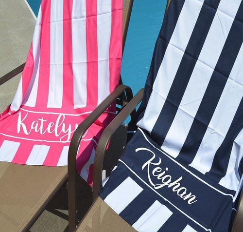 Monogram Stripe Beach Towel