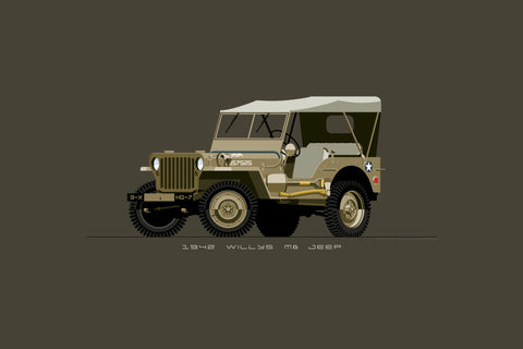 Illustrated print featuring a vintage, WW2, desert tan Willys MB Jeep for the Army
