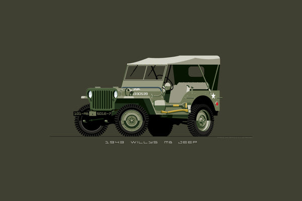 Illustrated print featuring a vintage, WW2, olive drab Willys MB Jeep for the Army
