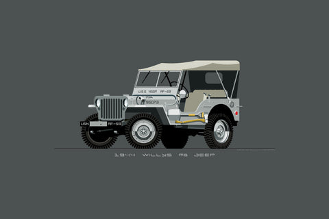 Illustrated print featuring a vintage, medium gray Willys MB Jeep for the Navy