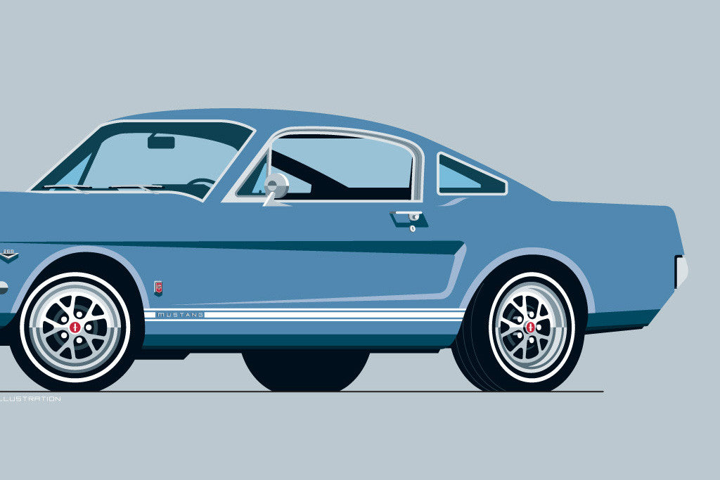 Illustrated 1965 Ford Mustang Gt Art Print In Silver Blue