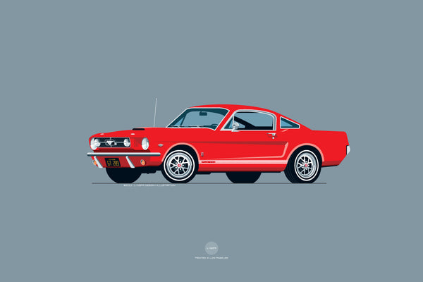 1965 Ford Mustang GT Print in Rangoon Red