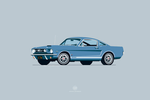 1965 Ford Mustang GT Print in Silver Blue