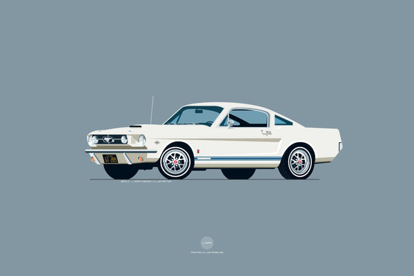 1965 Ford Mustang GT Print in Wimbledon White