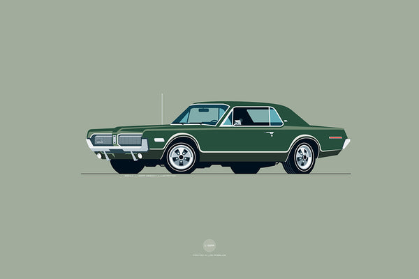 1968 Mercury Cougar Print in Augusta Green